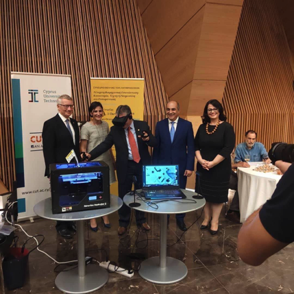 The President of the Parliament, Mr Demetris Syllouris, with the conference speakers. From left to right: Dr Bob Wardrop (University of Cambridge), Dr Victoria Kimonides (Microsoft), Prof. Stelios Kavvadias (University of Cambridge), Mr Demetris Syllouris and Dr Katerina Kaouri.