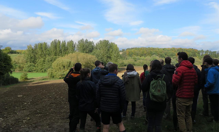 University of Oxford PhD students on a field trip to the Cotswolds learn about local land and water use issues