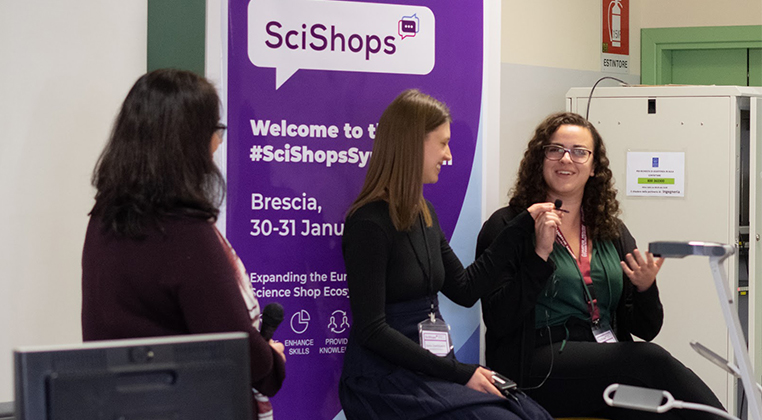 Caption: University of Guelph students and winners of the SciShops Pitch Symposium, Brianna Wilson and Sonia Zawitkowski, talking about their community-research project. Photo: Liselotte Rambonnet